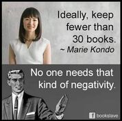 Marie Kondo quote keep fewer than 30 books